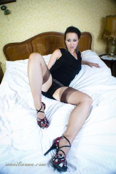 Black nylon panties and brown nylon stockings