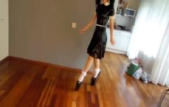 Walking in VERY Extreme High Heels and Wearing Latex