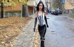 Tightly Laced Corset plus Latex and High Heel Boots in Public